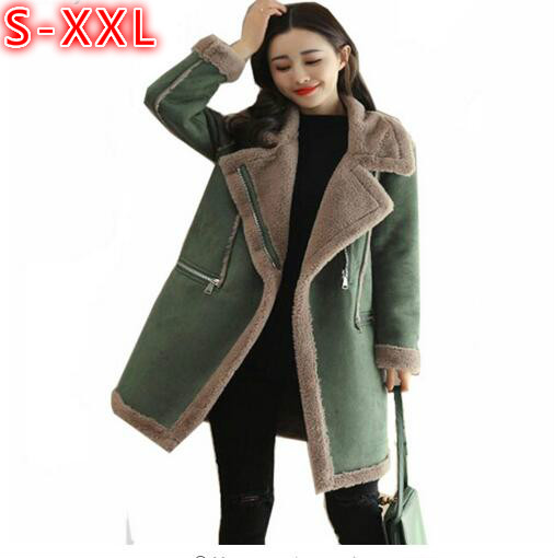 2018 Winter New Womens Long Suede Coat With Fur Collar Thickening Warm font b Parkas b