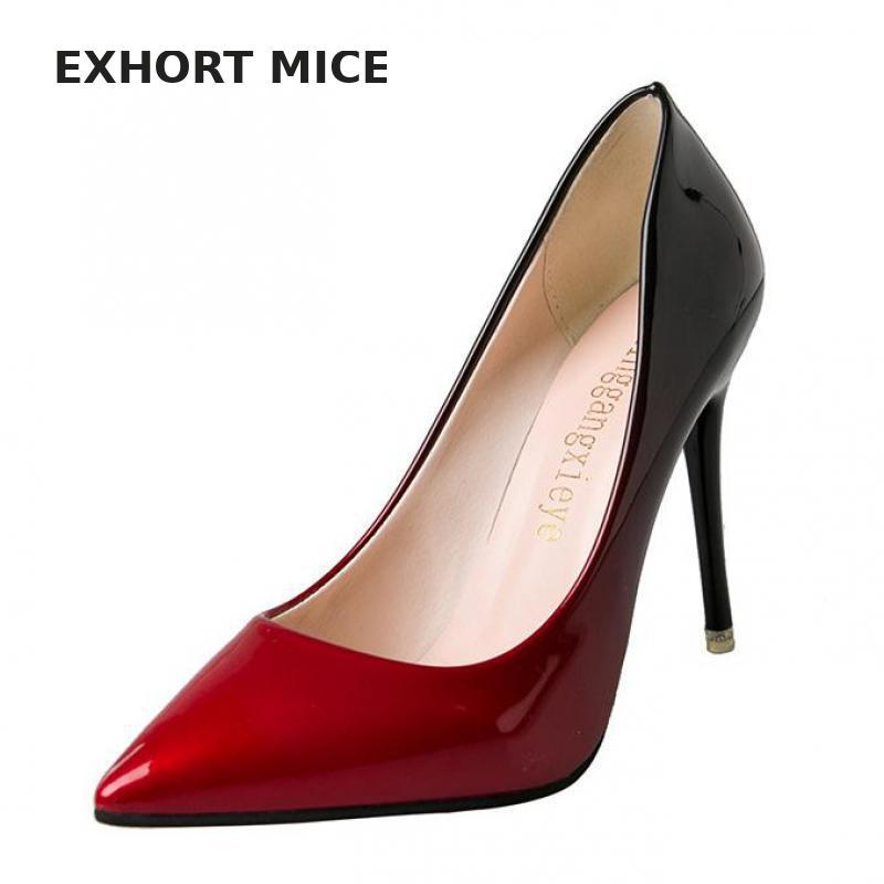 EXHORT MICE High Heels Women Pumps Sexy Nightclub Wedding casual shoes Pointed Toe Parties Dress Gradient Super Summer