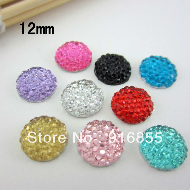 Free Shipping 48pcs/lot Size 12mm Fashion Round Shape Multicolor Flat Back Resin beads For DIY Decoration