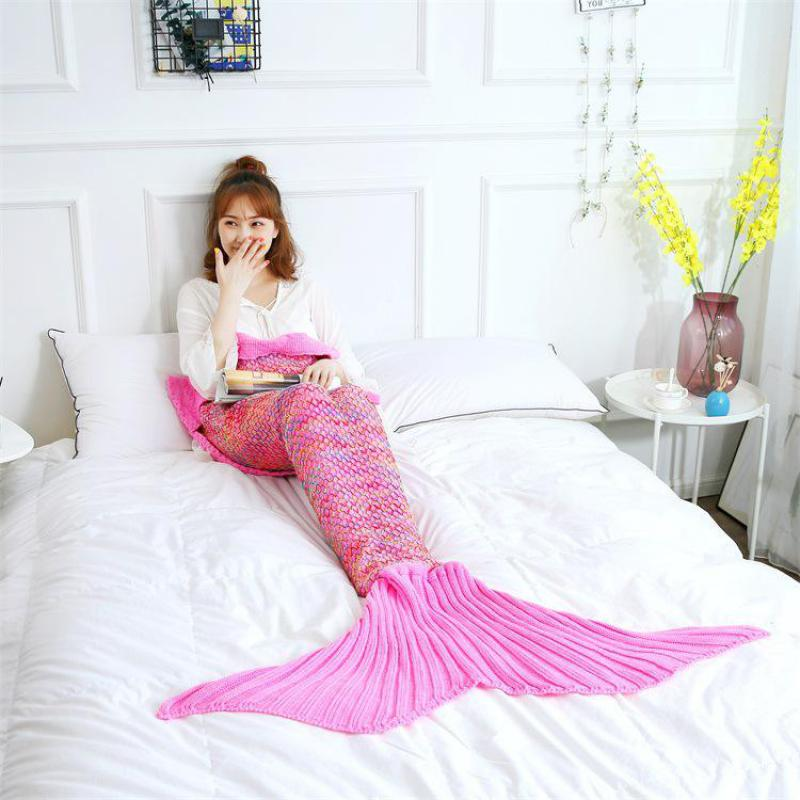 Sweet Adult COSPLAY Mermaid Tail Blanket Crochet Comfortable Sleepwear Blanket Super Soft All Seasons Sleeping Knitted Blankets