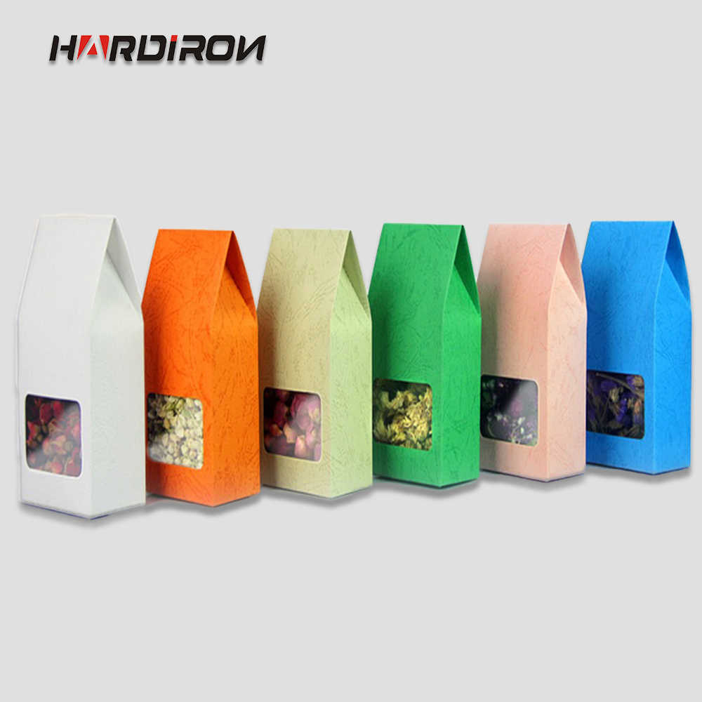 8x15.5x5cm 50pcs Reclose Stand Colorful Kraft Pouch with Clear window Tea bag storage Package Gifts Candy and so on Wedding Bags