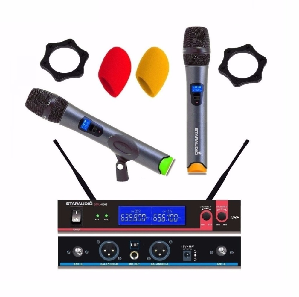 STARAUDIO SMU-0202A Karaoke Wireless Handheld Dual Channel Transmitter Microphone Set with 2 Mic For Home/KTV/Speech цена