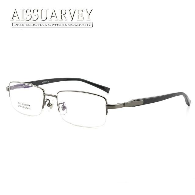 03fab8c442 Titanium Optical Eyeglasses Frames Brand Designer Top Quality Eyewear Men  Half Rim Classic Glasses Frames Clear Lenses Big New