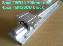 2 шт. TBR20-700 мм линейный рельс + 4 шт. TBR20UU Фланец линейный ползун