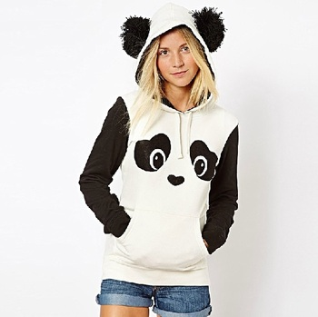Witsources Panda Hoodie Women New Fashion Long Sleeve Thick hoodies with hood for Autumn Winter SH2030