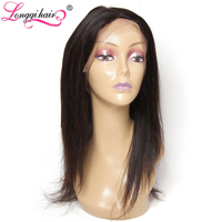LONGQI HAIR Brazilian Straight 360 Lace Frontal Closure Free Part 120 Density Natural Color 10 20