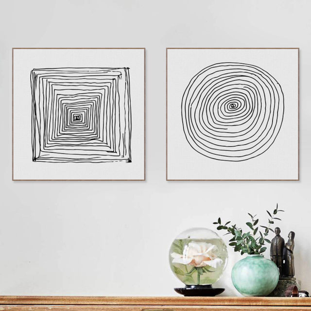 Minimalist abstract black and white geometry lines zen poster print nordic wall art pictures canvas painting no frame home decor