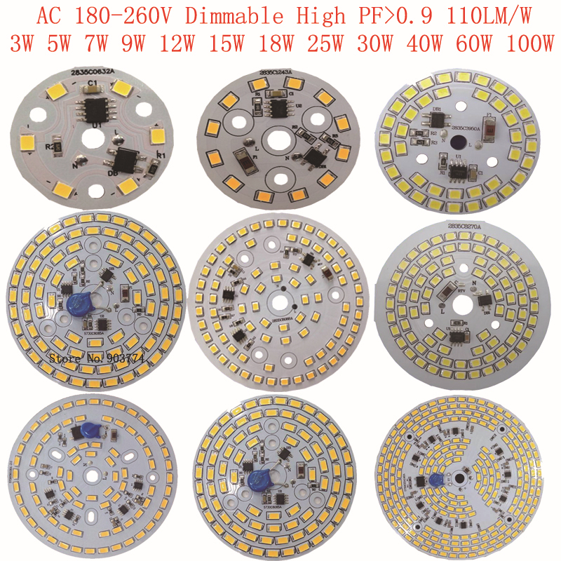 3W 5W 7W 9W 12W 15W 25w 30w 40w 60w 100w led Dimmable SMD 5730 Integrated Driver PCB Bulb Panel Driverless Led PCB Down Light