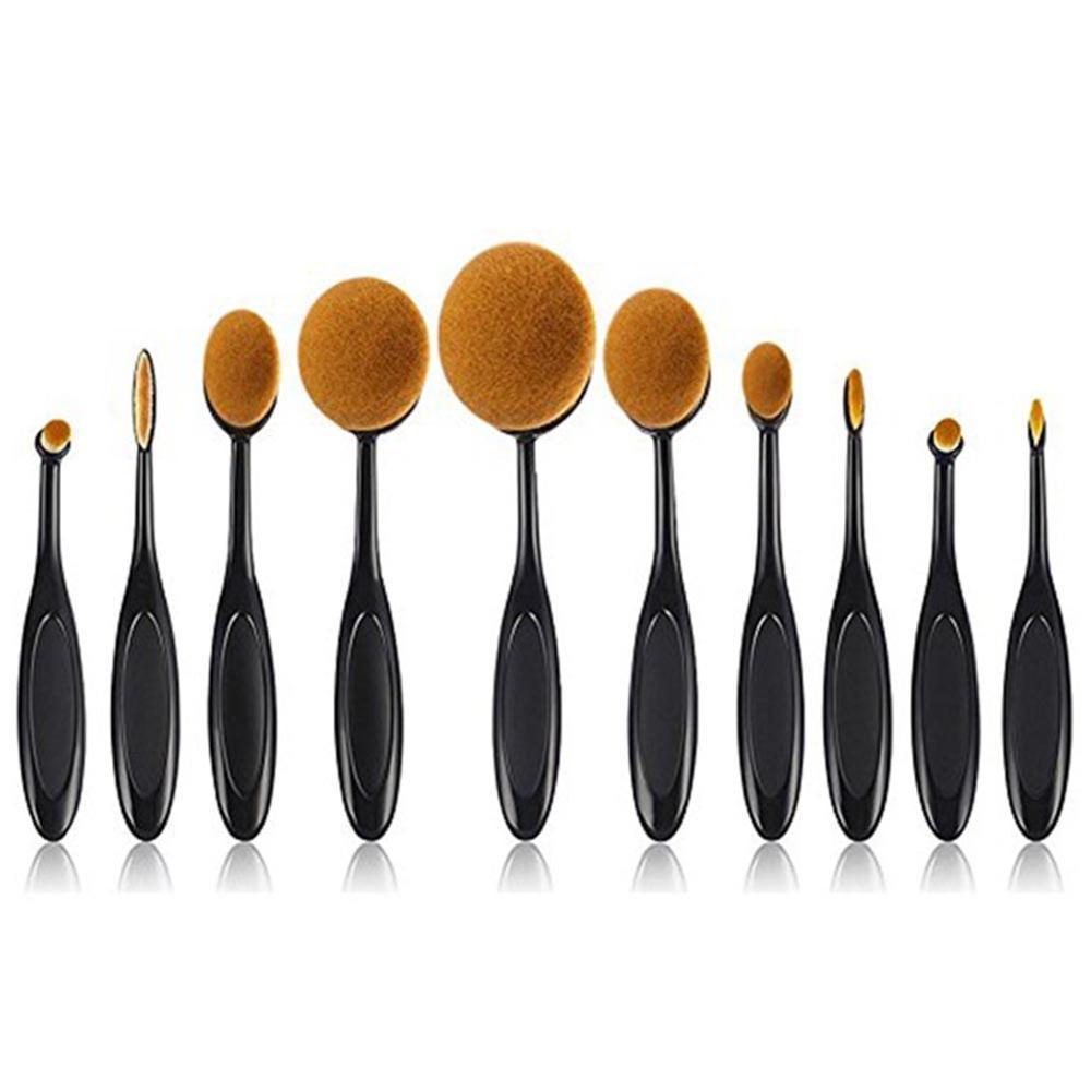 10 Pcs Maquiagem Jogo de Escova Macia Escova Oval Em Forma de Contorno Fundação Escova Blush Em Pó Delineador Blending Escova Cosmética