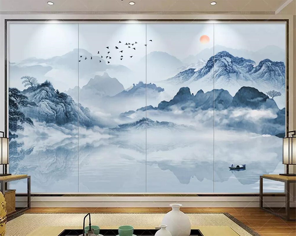 beibehang Hand painted landscape mural wallpaper home decoration 3d living room bedroom TV background reception hall decoration in Wallpapers from Home Improvement