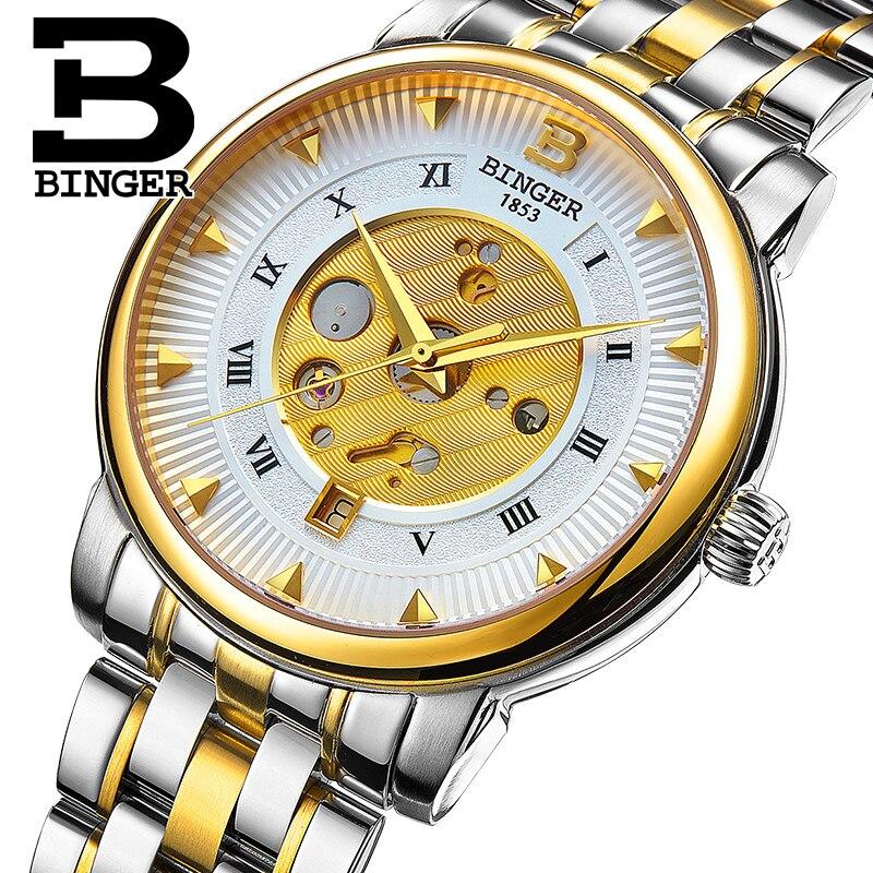 Switzerland BINGER Watches Chronograph Men's Watch Sports Watch Luxury Brand Waterproof Quality Gold Watch Men Wristwatch B1160G