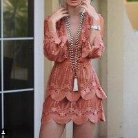 Прозрачное платье Летнее Новое Женское кружевное платье с вышивкой ddxgz2