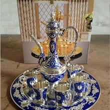 Серебряная отделка, синий металлический винный набор/чайный набор, модный винный набор из цинкового сплава, 1 набор = 1 тарелка+ 1 горшок+ 6 чашек