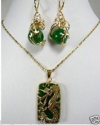 Новые ювелирные изделия зеленый нефрит серьги с драконами кулон ожерелье набор> часы оптом кварц нефрит CZ Кристалл