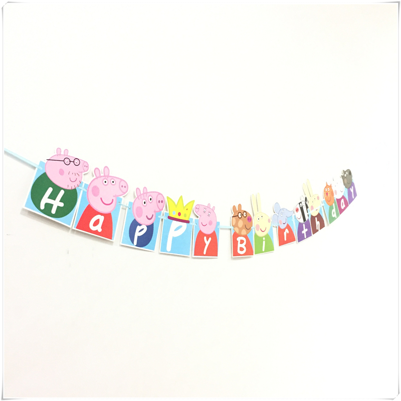 13PCS/set peppa pig theme banners party paper flags/colours baby boy favor birthday party decoration party supplies