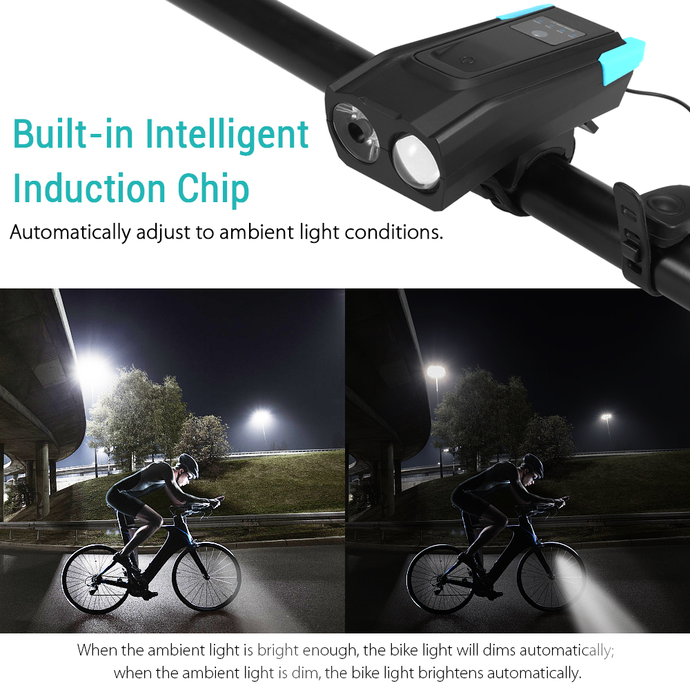 Bicycle Light Rechargeable Usb Front Led For Mount Waterproof With Horn And LCD