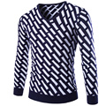 2016 Fashion Men Sweater V-Neck Casual Pullover Men Striped Printing Cotton Quality Slim Fit Knitted Pull Homme Brand Clothing