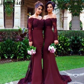 JaneVini Elegant African Mermaid Burgundy Bridesmaid Dress Long Sleeves V Neck Appliques Sequined Backless Wedding Guest Dresses
