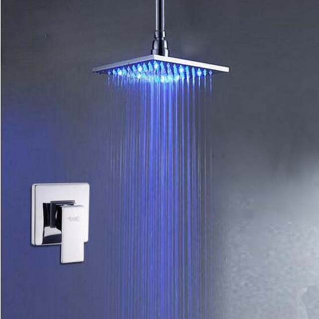 Chrome Brass Ceiling Mounted 8 10 12 16 Led Rain Shower Head