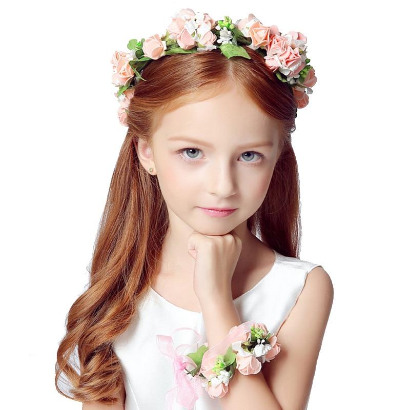 Wedding wreaths headdress hair ornaments bracelet hand wreaths bride photography photography artificial simulation flowers