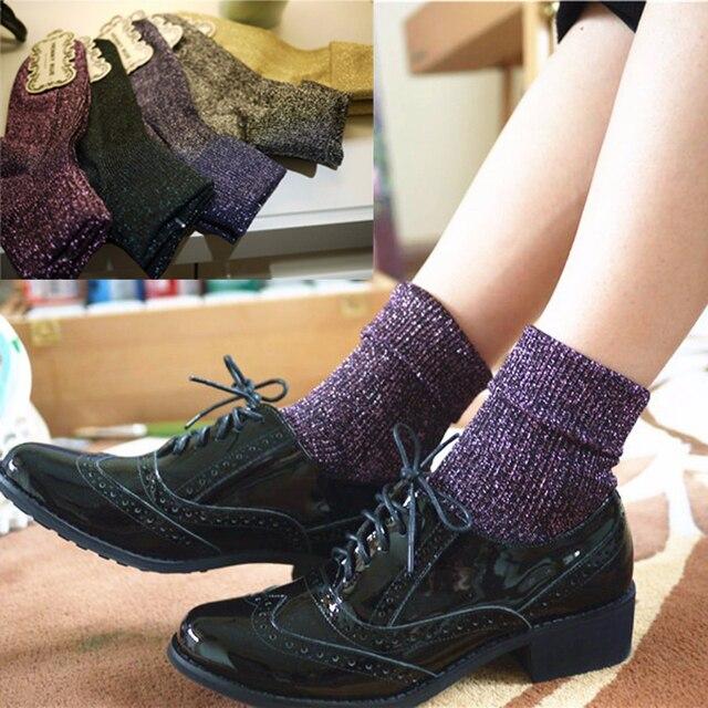 high quality fashion shining socks lurex autumn winter thickened knitted  thermal women brand long harajuku boot socks christmas e2369bf7c8c3