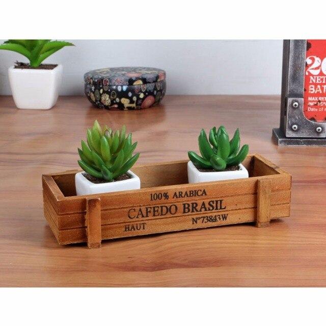 Retro de madera maceta suculento para suculentas Bonsáis jardín ...