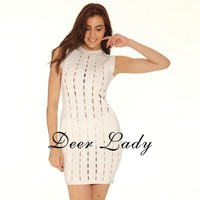 Deer Lady Vestidos Bandage 2019 New Arrivals Sexy Sleeveless Bandage Dress Rayon Hollow Out Bandage Dress White Women Party Club