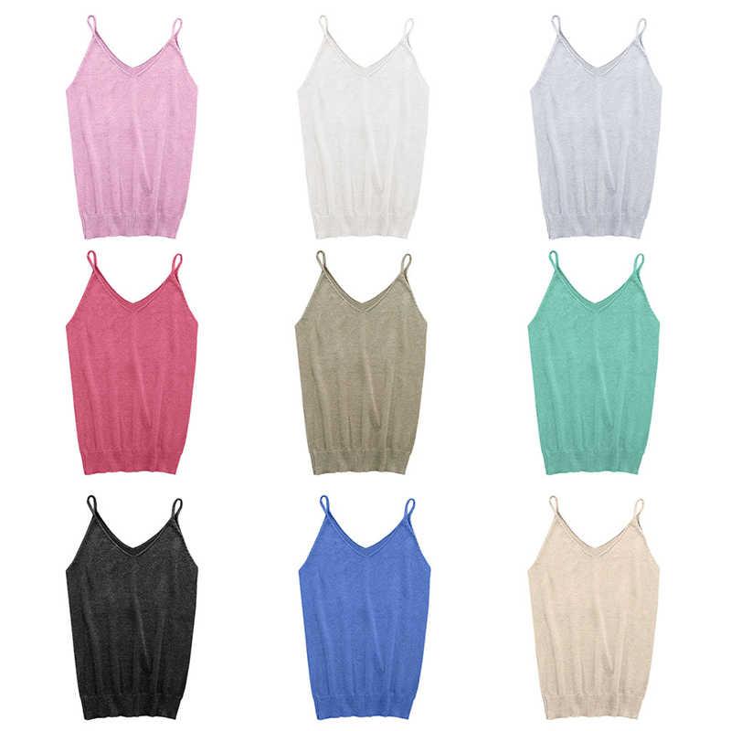 9 kolorów błyszczące z dzianiny kobiet kamizelka kamizelka rozciągliwy V szyi Slim Sexy Strappy Tank Tops nowy