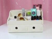 Style Multi color Wood casket cosmetics desktop storage box with drawer shelf storage rack gadgets 311D