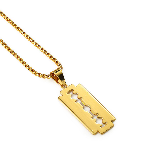 Ice out gold razor blade pendant necklace small blade men women hip ice out gold razor blade pendant necklace small blade men women hip hop necklaces charm chains thecheapjerseys Choice Image