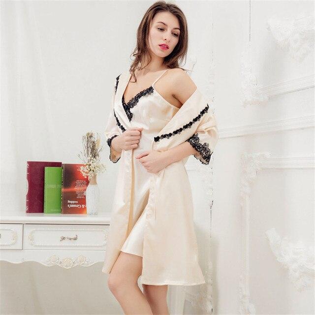 Mini Set Nightgown Silk Robe Sexy Two-piece High-grade Satin Sleepwear  Champagne Women's Nightgown-robe-set Bathrobe
