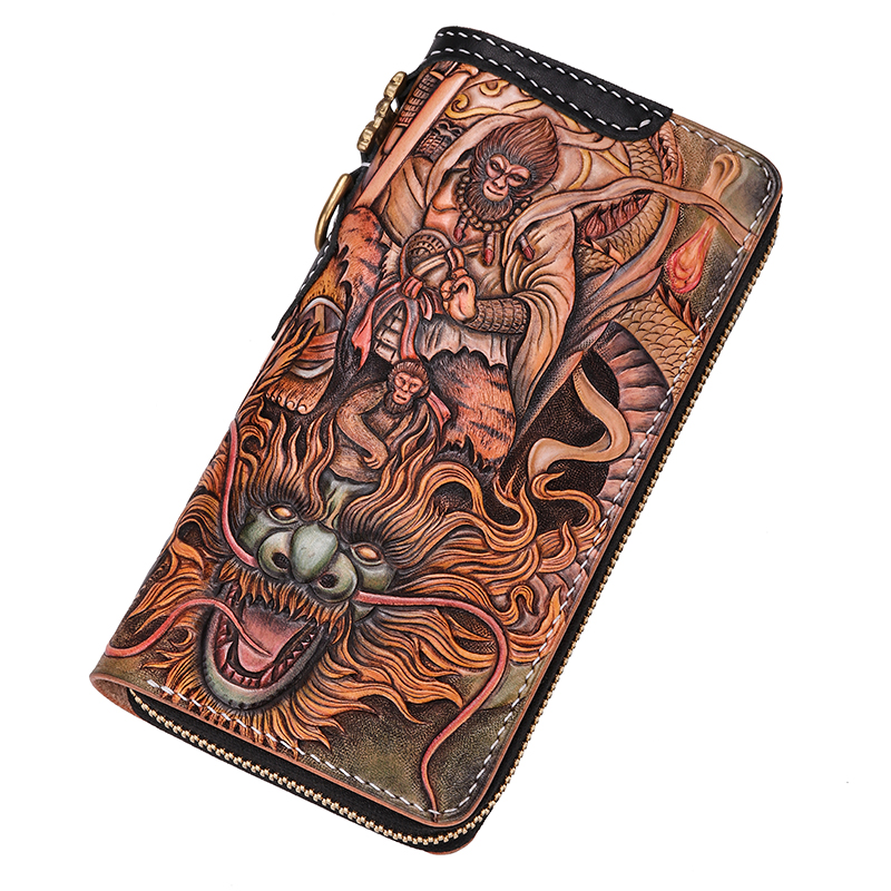 Genuine Leather Wallets Carving Great Sage Equalling Heaven Purses Men Long Clutch Vegetable Tanned Leather Wallet Card Holder карапуз пупс 3 функции пьет и писает с аксессуарами 40 см карапуз