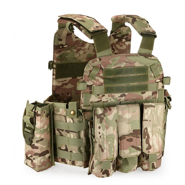 Multicam Camouflage Molle 나일론 모듈러 조끼 전술 전투 조끼 야외 사냥 6094 조끼 군사 남성 의류 육군 조끼