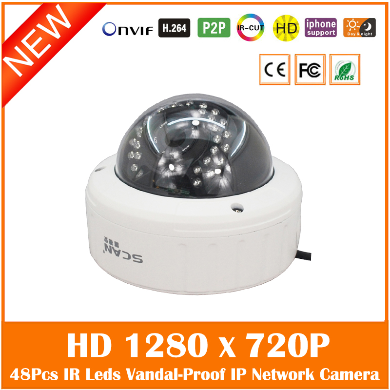 Anti-vandal Hd 720p Indoor Dome Ip Camera Onvif P2p Ir Cut Filter Cctv Surveillance Metal Webcam Motion Detect Freeshipping Hot 720p hd 3 7mm lens mini cctv surveillance cmos ip camera onvif p2p webcam motion detection
