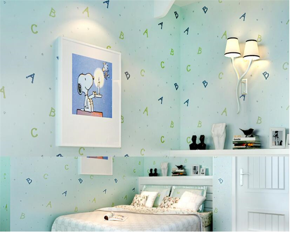 beibehang Non woven wallpaper children's room bedroom simple alphabet boy girl room background wall papel de parede 3d wallpaper beibehang wallpaper high grade environmental protection non woven wallpaper girl boy room room striped wall paper car children
