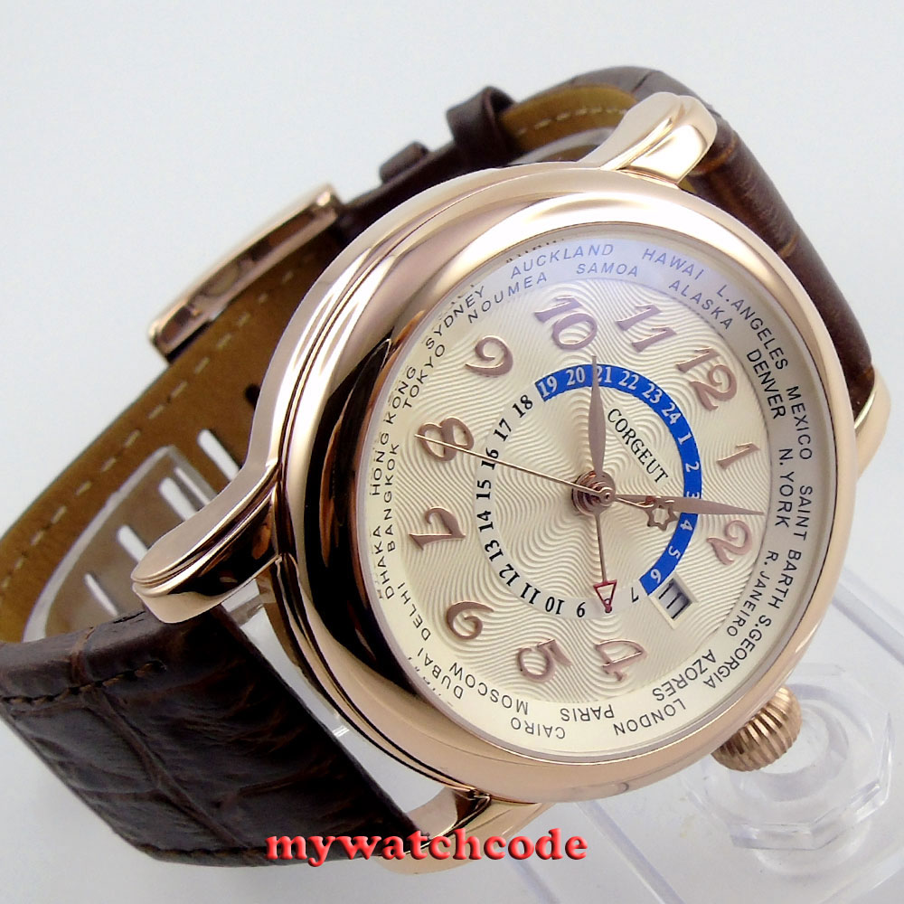 все цены на 43mm corgeut rose golden dial GMT leather strap Automatic mens women Watch Cor38 онлайн