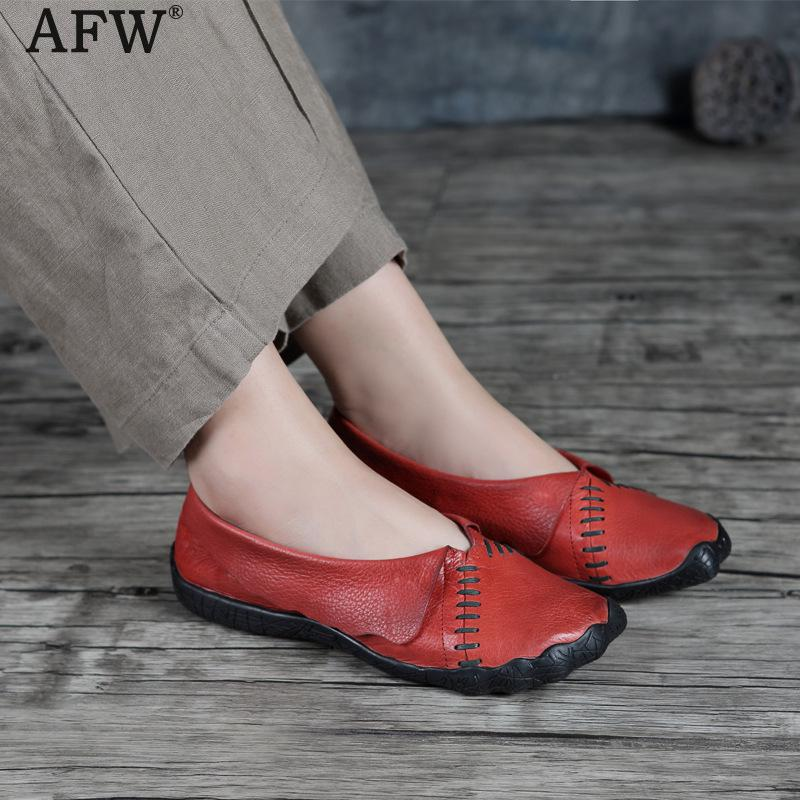 AFW Soft Leather Women Flats Slip On Low Heel Spring Shoes Red Genuine Leather Women Loafers 2018 Handmade Women Leather Shoes cresfimix zapatos women cute flat shoes lady spring and summer pu leather flats female casual soft comfortable slip on shoes