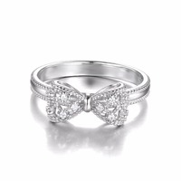 JewelryPalace Bow Cubic Zirconia Anniversary Wedding Ring For Women Soild 925 Sterling Silver Jewelry For Girl Party Friend Gift 4