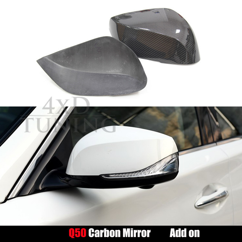 For Infiniti Q50 Q70 Mirror Cover Carbon Fiber Rear View Side Mirror Cover Replacement & Add On Style 2014 2015 2016 2017 2018 for cadillac ats full add on style carbon fiber mirror covers 2014 2015