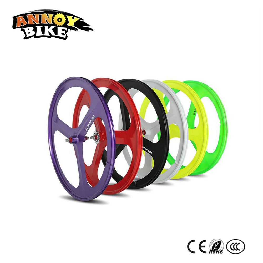 1set Front And Rear 700C Road Bike Wheel Bicycle Magnesium Alloy Three Spokes Parts Integrated Wheel Fixed Gear Single Speed цена