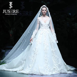 Bridal-Dress Long-Sleeves Neckline Luxury Big Illusion Beading Flowers Cathedral Long-Train