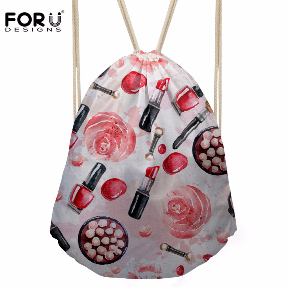 FORUDESIGNS Women's Drawstring Bag Females Lipstick Prints Beach Pouch For Kids Girls Cartoon SchoolBags Logo Customized Sack
