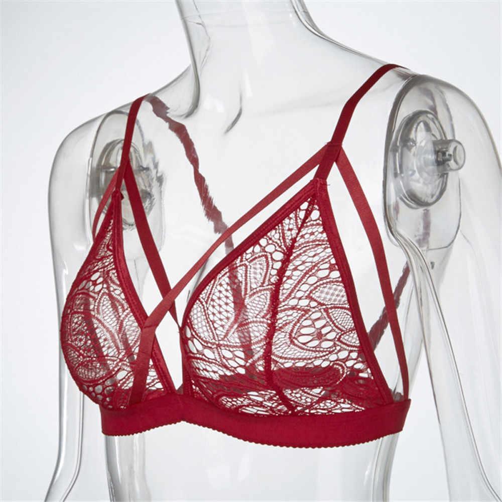 Sujetadores de malla de encaje Floral para mujer lencería Sexy ropa interior transparente sujetador Bustier Bralette Crop Top inalámbrico D30 JU4