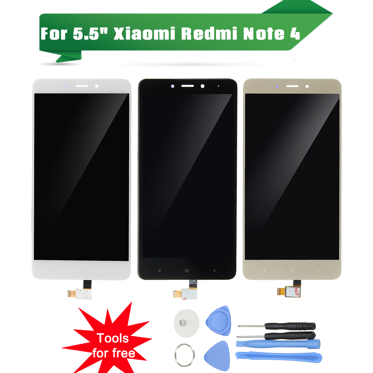 Leory 1Pcs Black/White/Gold LCD Display Digitizer Screen Mobile Phone LCDs With Free Tools for Xiaomi for Redmi Note 4 5.5 Inch