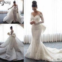 58060d7709d 2018 Luxury Mermaid Wedding Dress Sheer Neck Long Sleeves Lace Applique Bow  Overskirts Chapel Train Bride Dress Vestido de noiva
