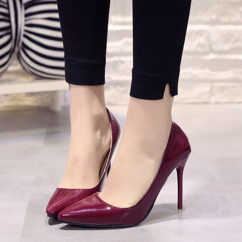 EXHORT MICE Women Pump Faux  Basic Sandals Solid Colors 2018 Slip On High Heels Sandals Femme Sexy Pumps Black pink white basic pump