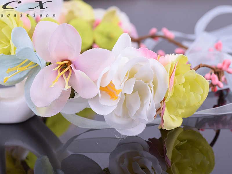 CXADDITIONS Фея Красочный ткань венок роза цветок лилии Halo Свадебные Цветочный Корона венок волос свадебный головной убор лесной деревенский