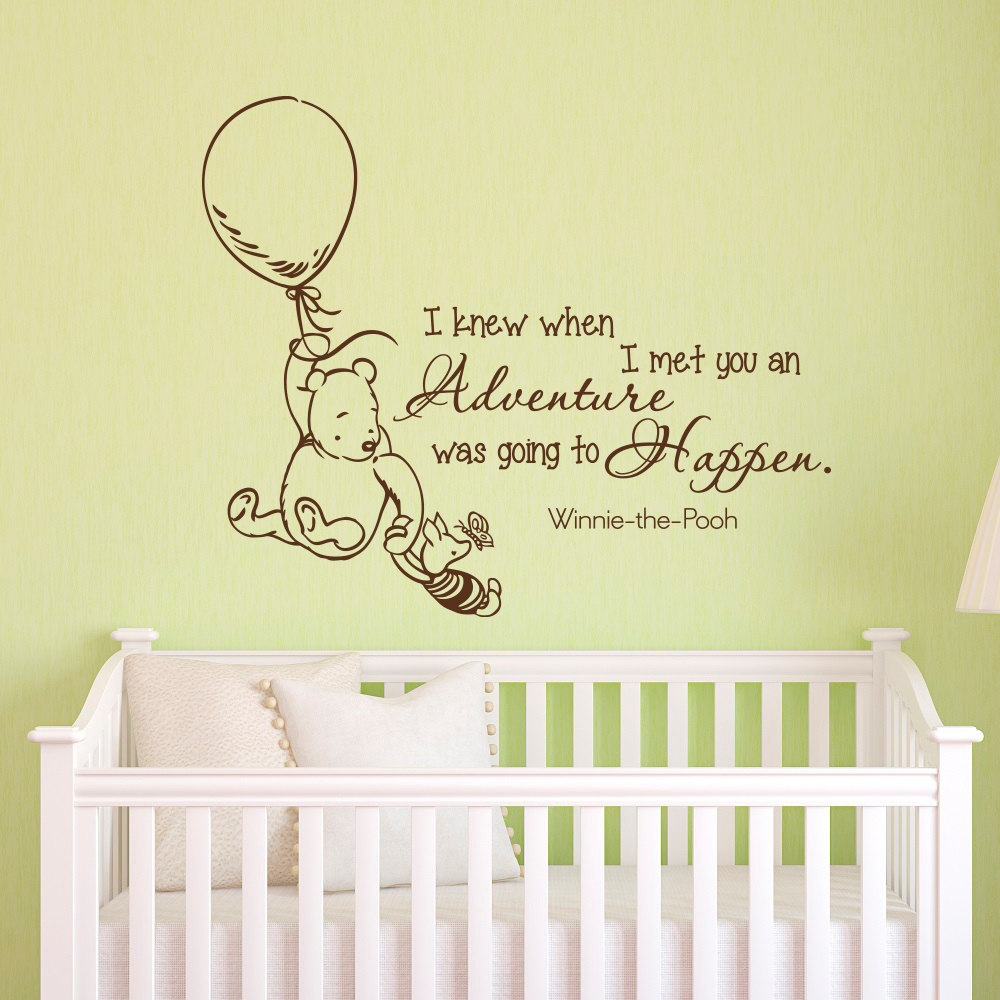 Click Here To Now Wall Decals Quotes Clic Winnie The Pooh I Knew When Met You An Adventure Was Going Hen Stickers Jw075