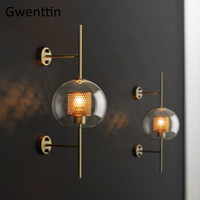 Modern Glass Led Wall Lamp Nordic Wall Sconce Light Fixtures Loft Industrial Mirror Lights Home Decor for Bedroom Luminaire E27