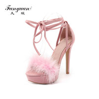 fanyuan 2019 high quality flock platform sandals women shoes 12.5cm ultra high heels Feather fur solid color party wedding shoes